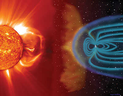 Illustration showing solar wind from the sun and magnetic fields from the Earth