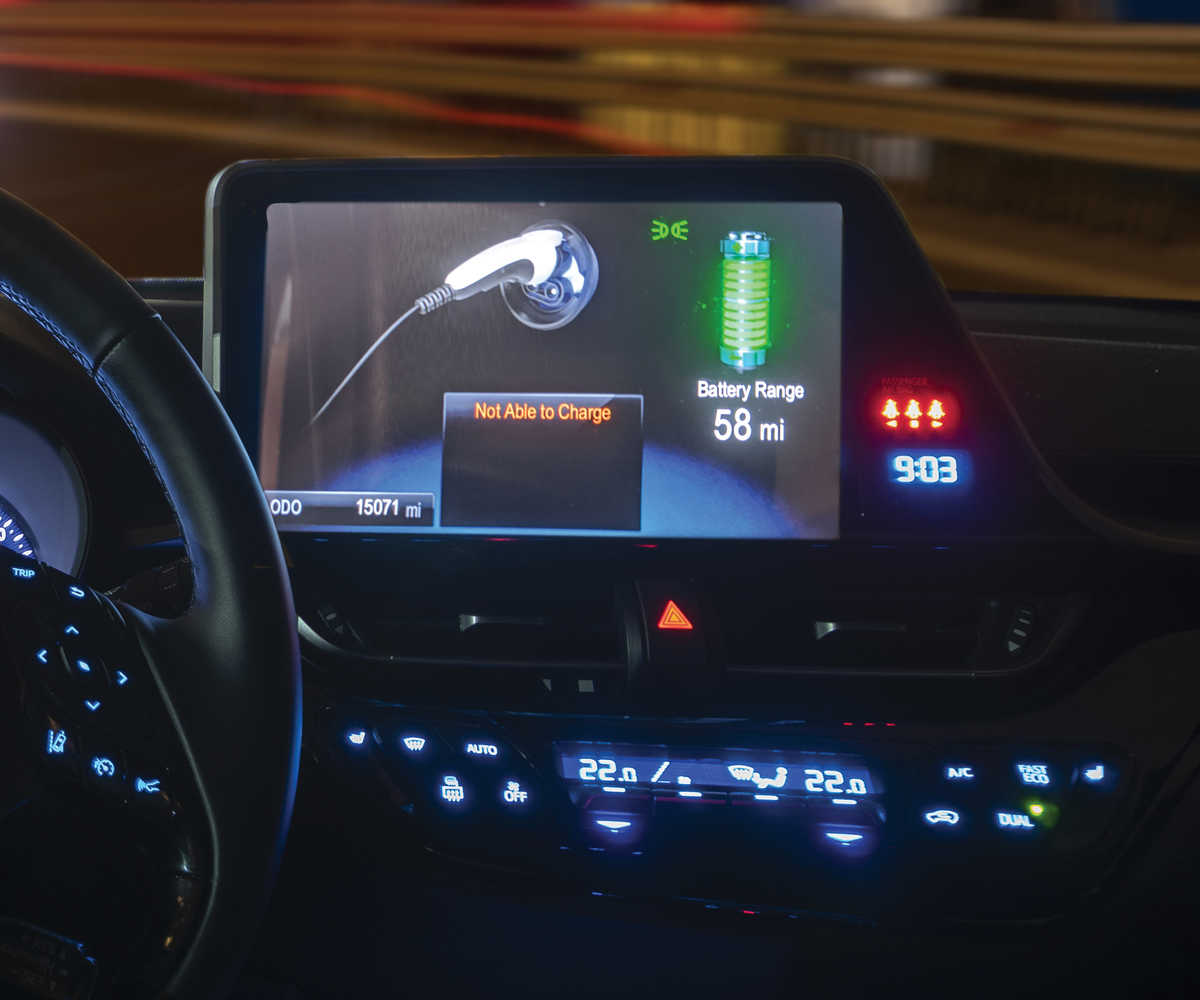 electric vehicle touchscreen displaying a not able to charge message