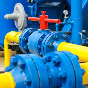 image of blue pipe with yellow red