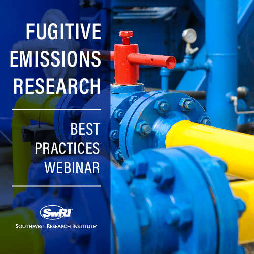 image of a blue pipe with the words Fugitive Emissions Research Best Practices Webinar and Southwest Research Institute logo overlayed