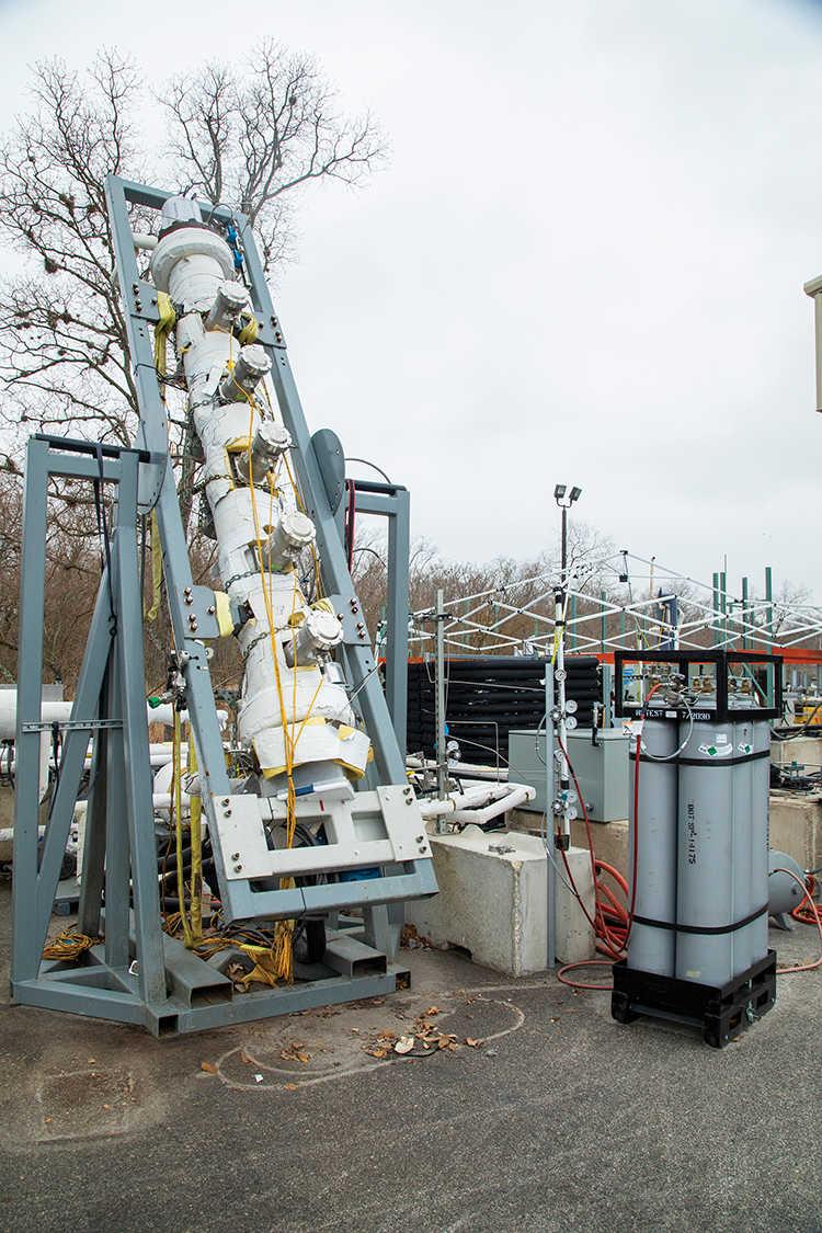 gas foam test stand in SwRI's pilot-scale facility