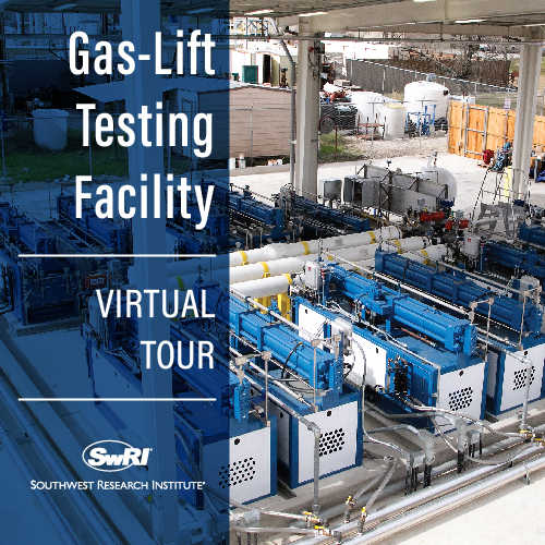 Gas lift test facility with the words Gas-Lift Testing Facility Virtual Tour overlayed