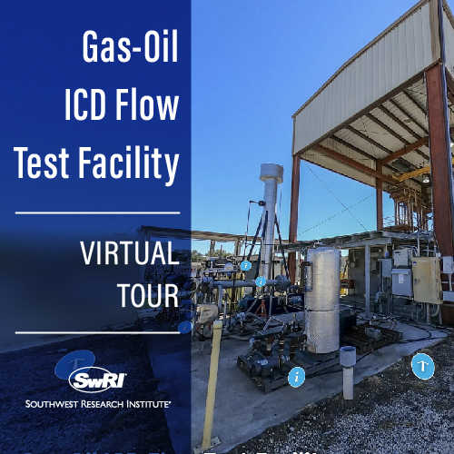 ICD flow test facility with the words Gas-Oil ICD Flow Test Facility Virtual Tour overlayed