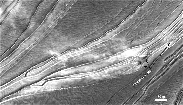 black & white image airborne plumes of dust located above the downwind slope of this Martian megadune