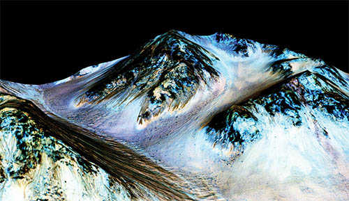 Mars Topography colored according to salt levels