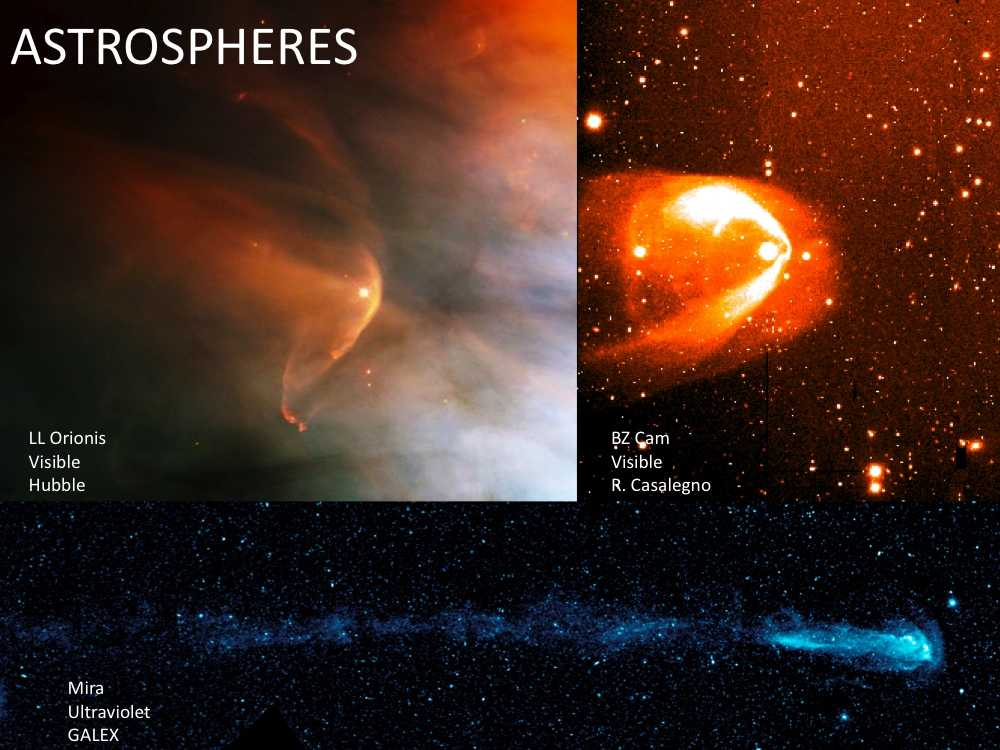 Bow shocks exist around other astrospheres, as seen in these images taken by multiple telescopes.