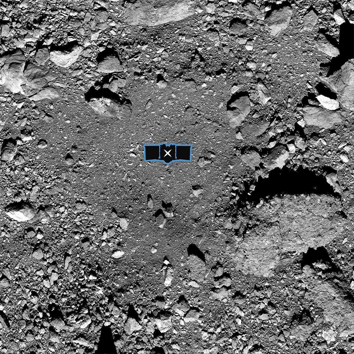 Black and white image of landing site with an impression of the OSIRIS-REx vehicle