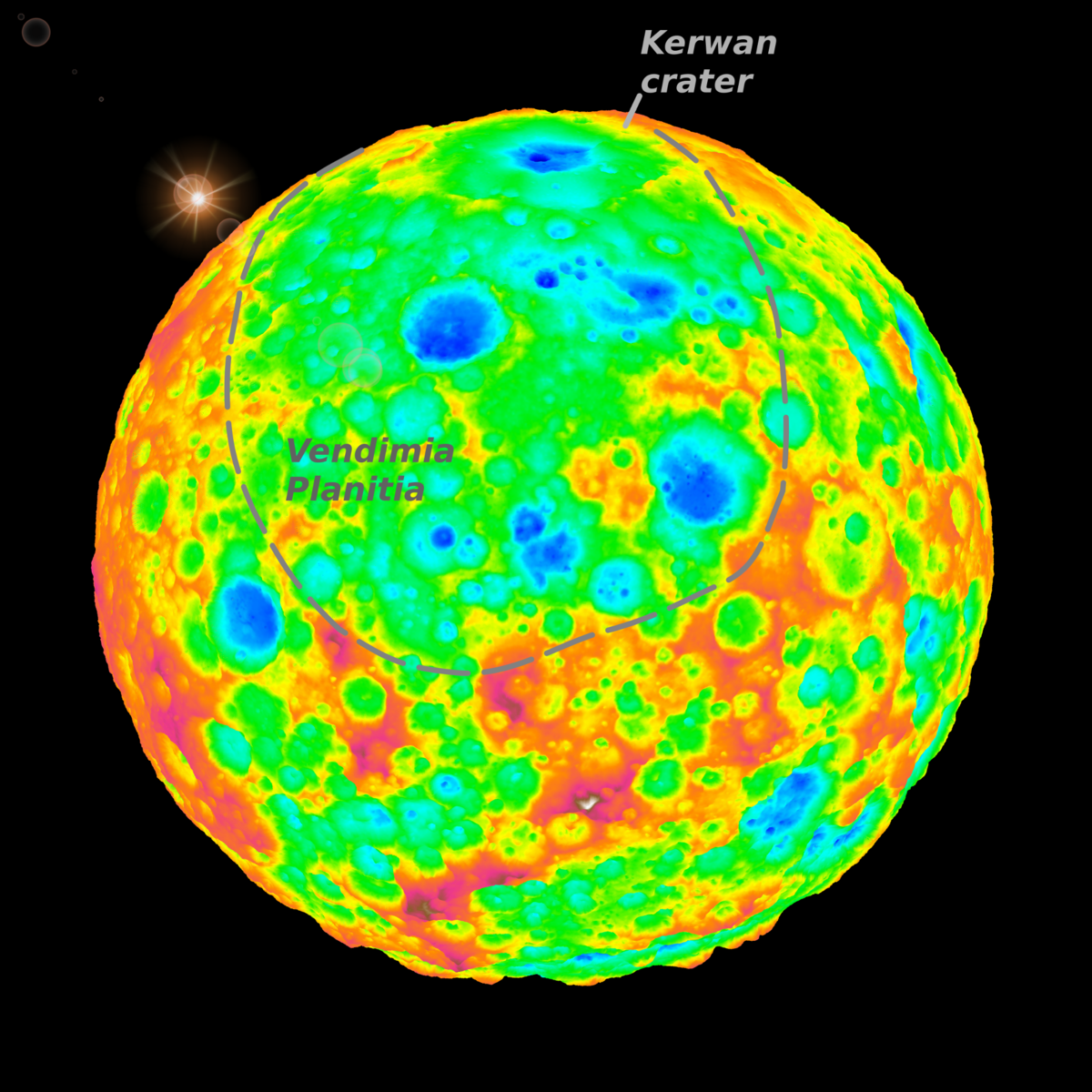 False-color image includes a grazing view of Kerwan, Ceres' largest impact crater