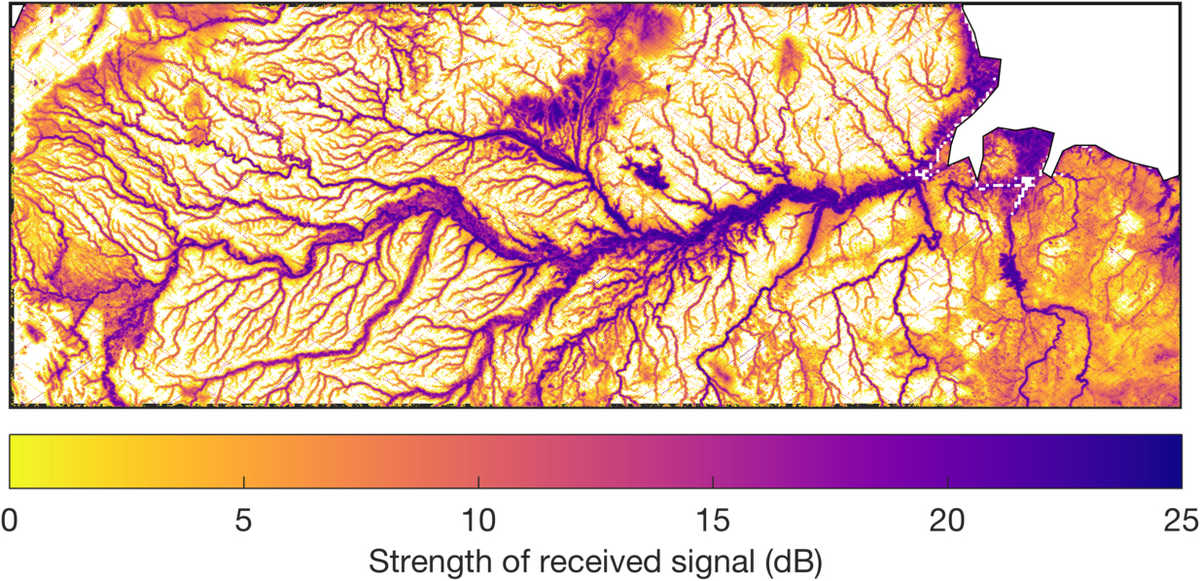 CYGNSS imagery of Amazon river basin flood