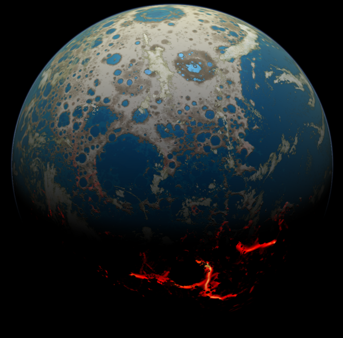 This illustration shows how the early Earth might have looked under bombardment