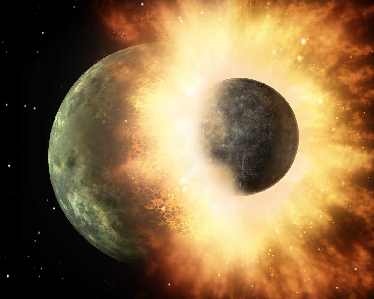 This artist's concept shows a giant impact similar to the one 4.5 billion years ago that scientists think created the Earth-Moon system