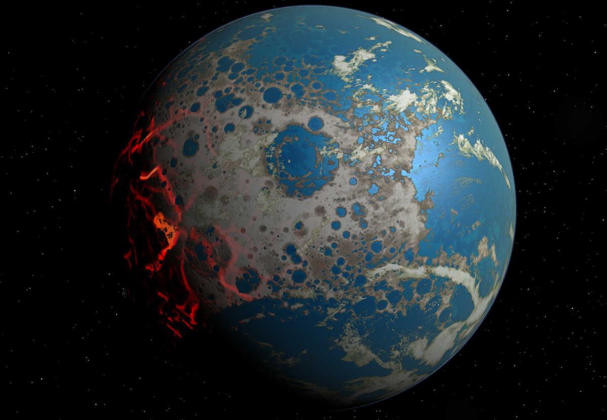 Photo: artistic conception of the early Earth