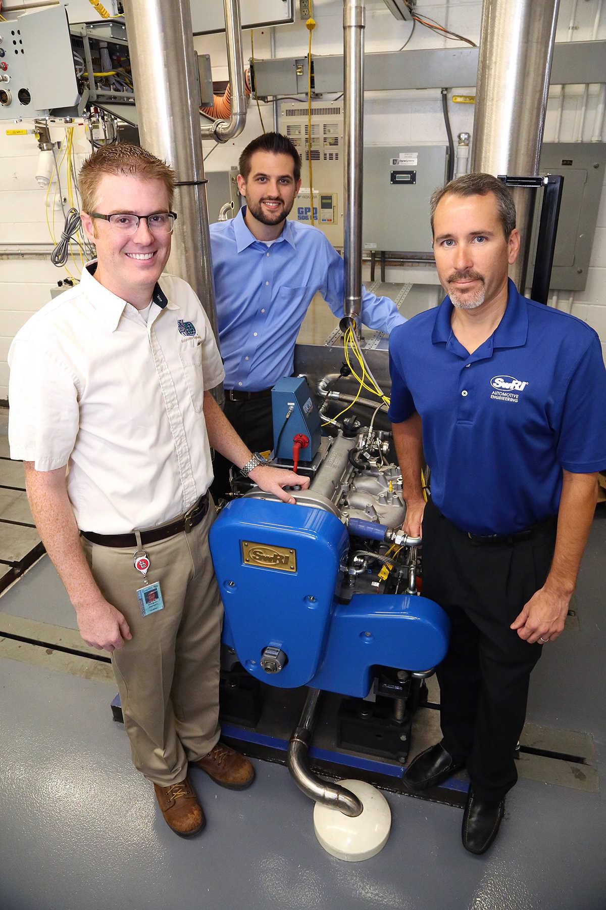 SwRI automotive engineers Gregory Hansen, Dennis Robertson and Mark Walls