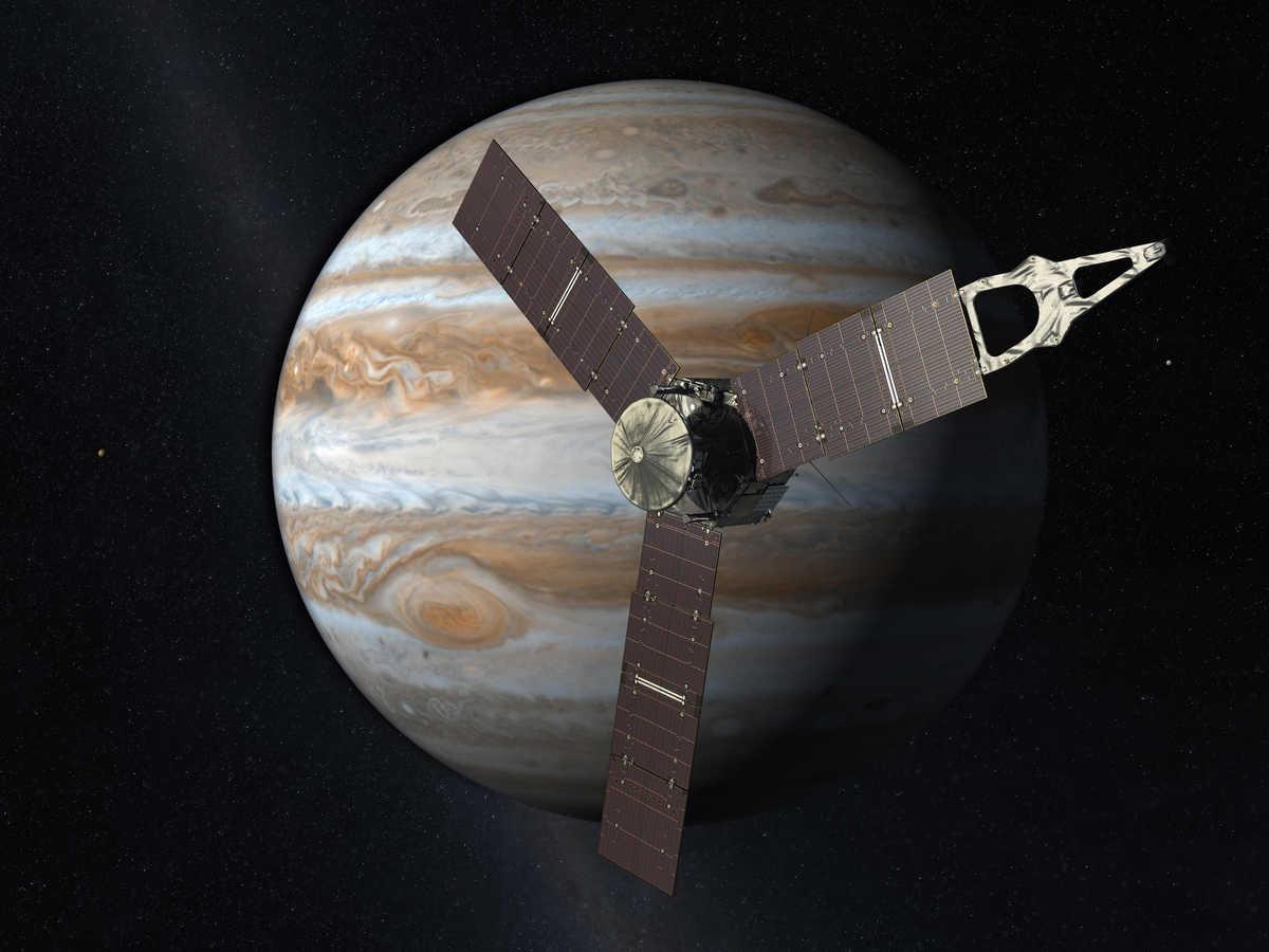 Juno orbiting Jupiter