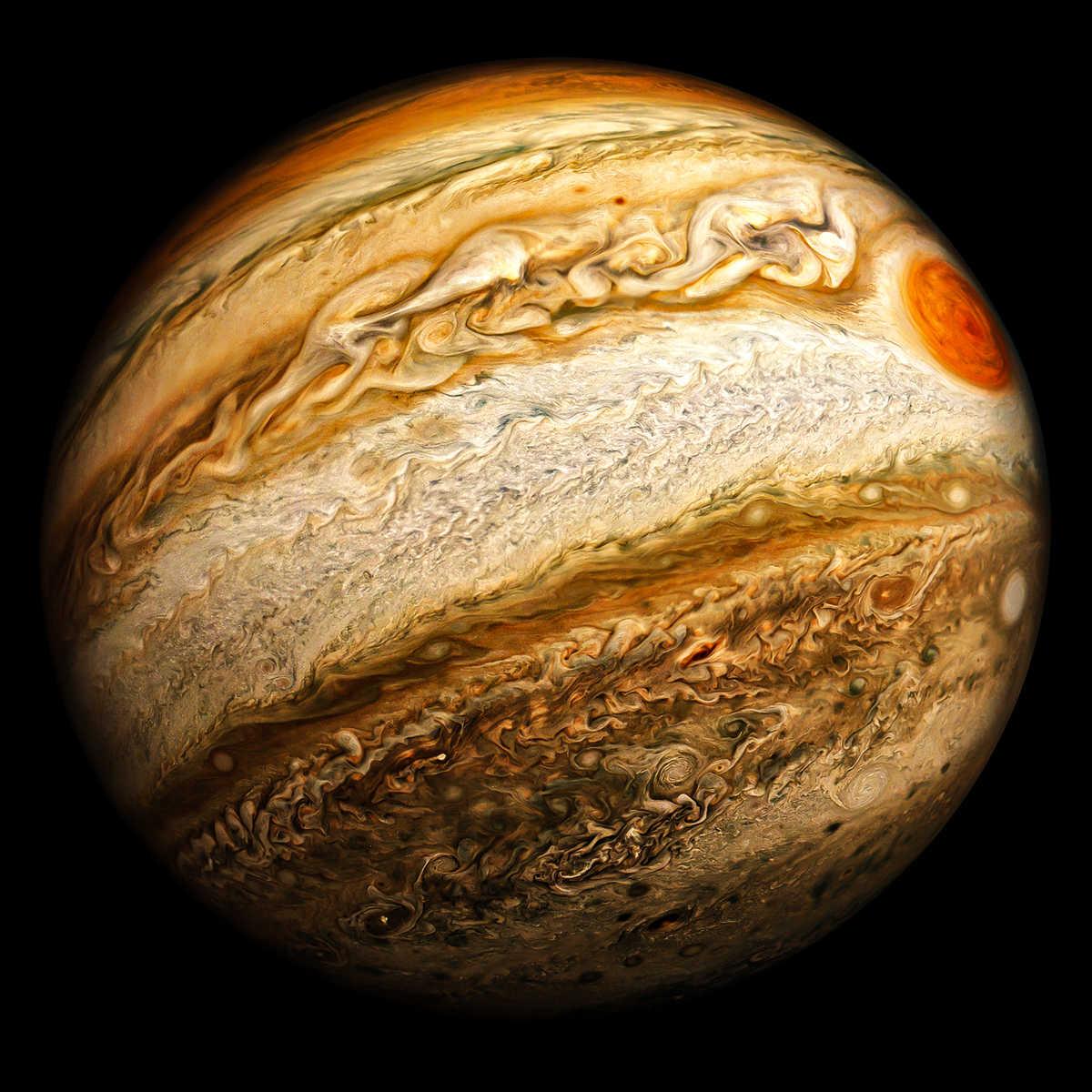 Close up of Jupiter showing an orange spot