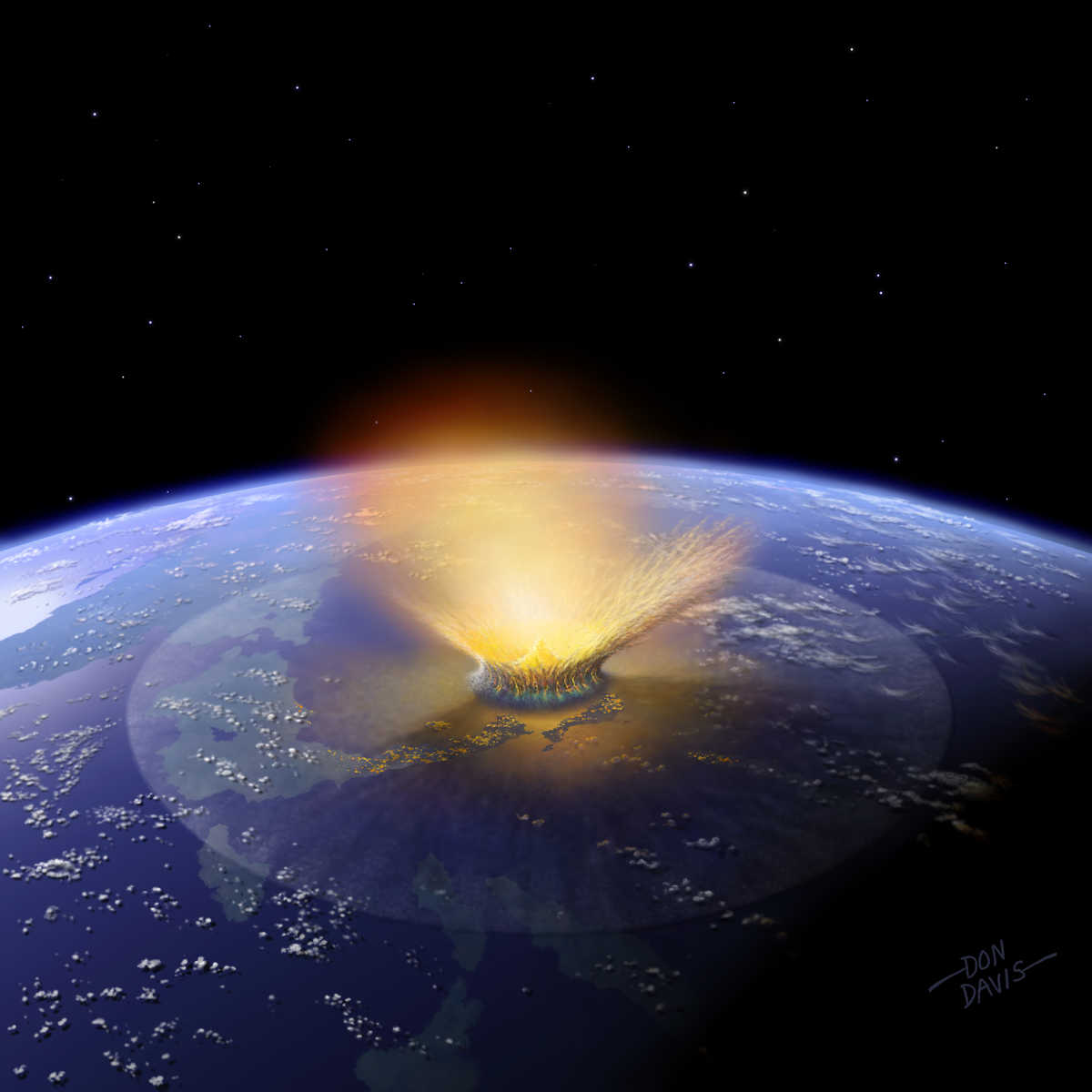 This image shows an artist's depiction of a 10-kilometer (6-mile) diameter asteroid striking the Earth.