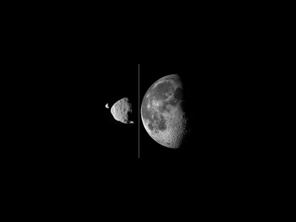 Composite image compares how big the moons of Mars appear, as seen from the surface of the Red Planet, in relation to the size that our Moon appears from Earth's surface