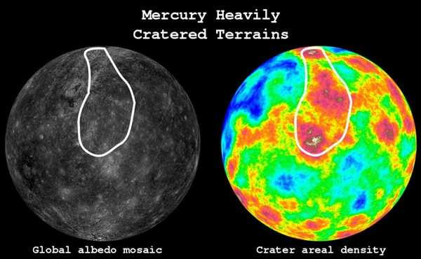 The figure shows an image of Mercury's surface