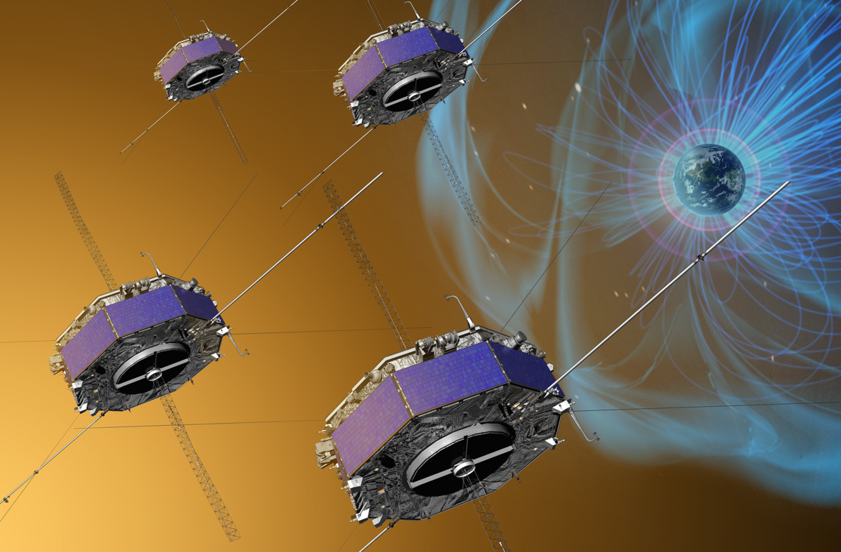 Artist's depiction illustrating the four Magnetospheric Multiscale (MMS) spacecraft flying in a tetrahedral formation