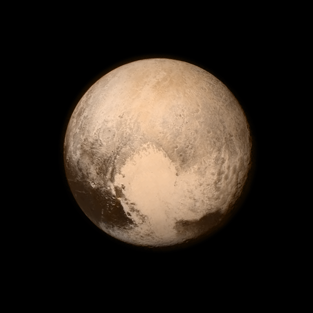 Pluto nearly fills the frame in this image from the Long Range Reconnaissance Imager (LORRI)