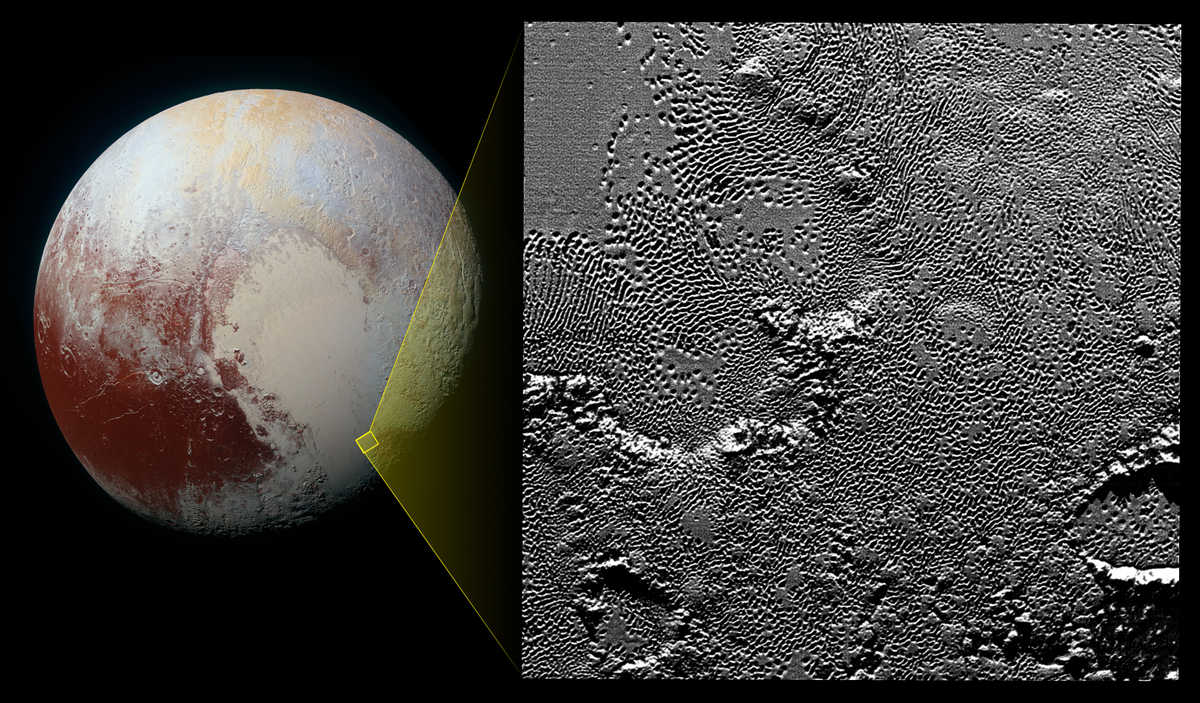 A pattern of pits on the icy planet, Pluto