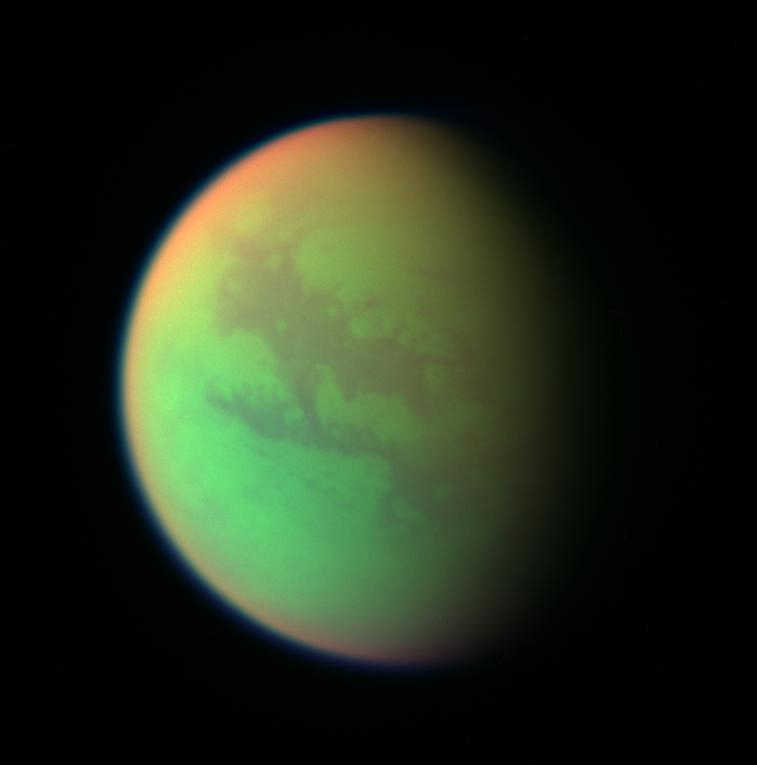 This false color composite of Titan, taken during a 2005 Cassini spacecraft flyby