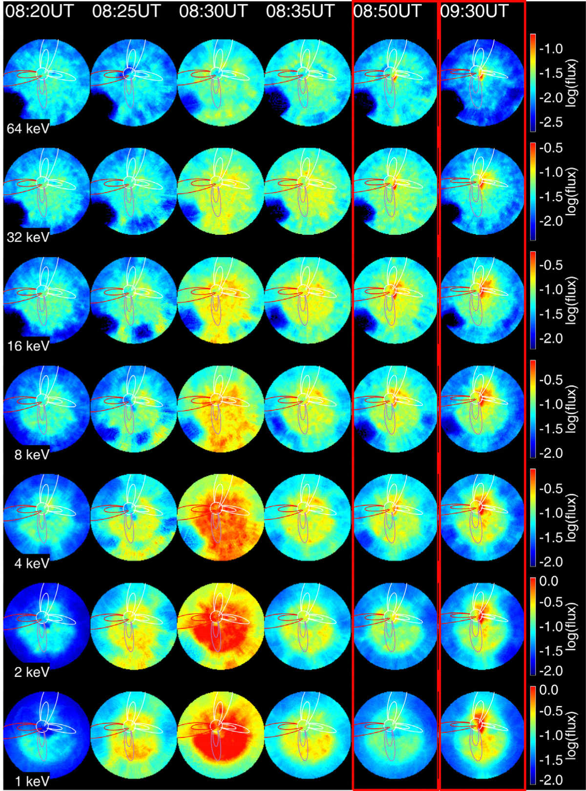 These energetic neutral atom (ENA) panels show IBEX observations before (left) and after (right) the solar wind impacted the Earth's magnetosphere on April 5, 2010