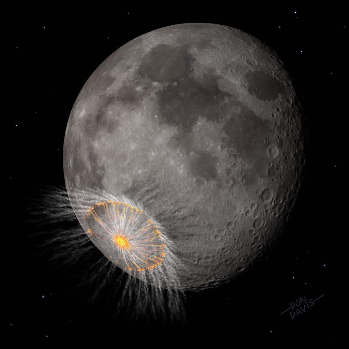 Download Image This image shows an artist's depiction of what a large lunar impact event might look like well after the end of lunar impact basin formation