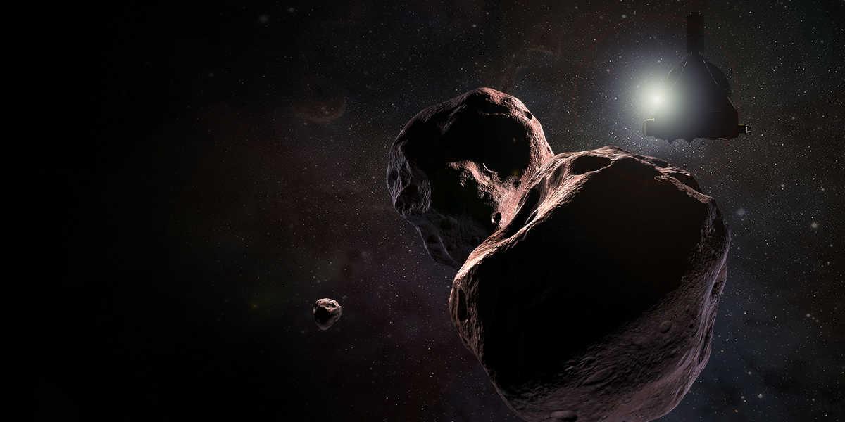 Artist's impression of NASA's New Horizons spacecraft encountering 2014 MU69