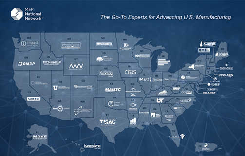 Map of United States showing names of each state's manufacturing assistance center