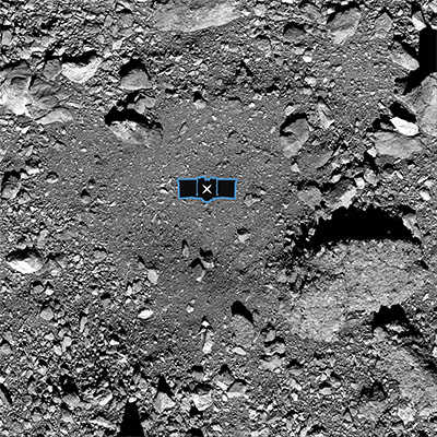 Black and white image of landing site