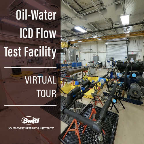 ICD flow test facility with the words Oil-Water ICD Flow Test Facility Virtual Tour overlayed