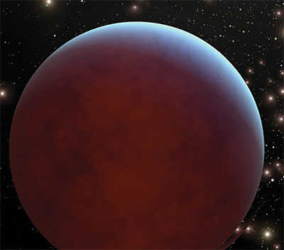 A red planet in space