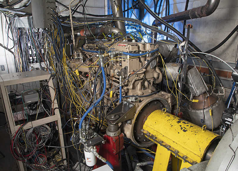 Wires and machinery in the ultra-low NO<sub>X</sub> test cell