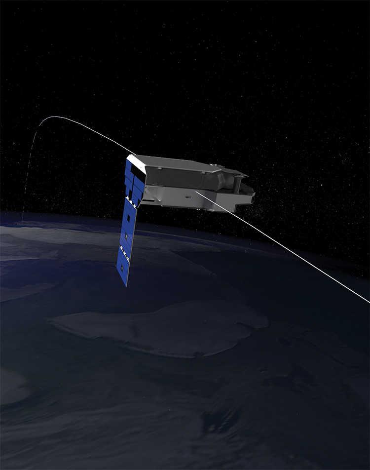 artist rendering of PUNCH's suitcase-sized satellite in polar orbit