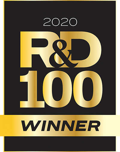 Black and gold R&D100 award logo