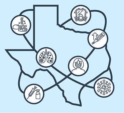 Diagram of Texas with medical icons around it