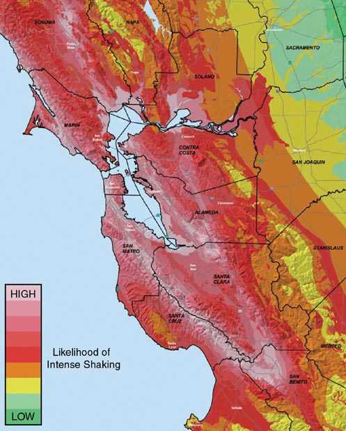 Map illustrating expected levels of shaking in the San Francisco Bay area