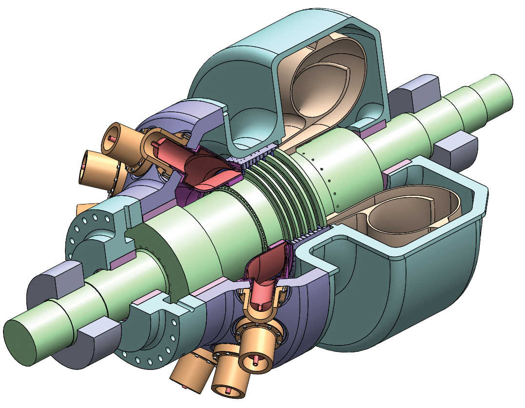 artistic rendering of 300 MWe supercritical carbon dioxide (sCO2 ), oxy-fuel turbine