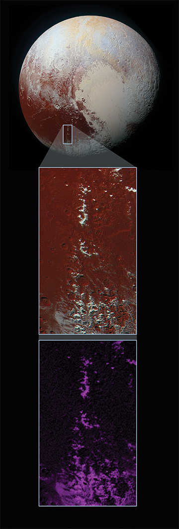 Snow cappped methane mountains in Pluto's Cthulu region