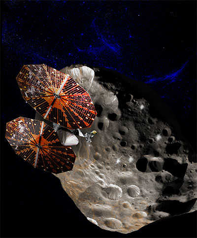 Lucy satellite orbitting a Trojan asteroid