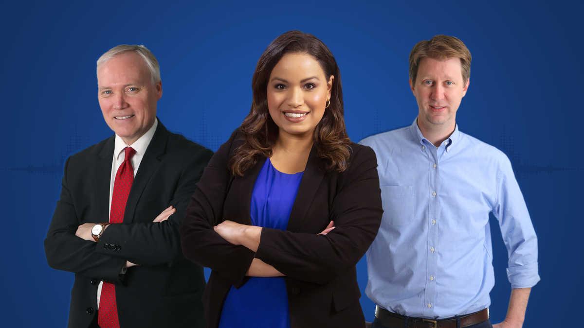 James Walker, Lisa Peña, and Nicholas Mueschke against a solid blue background