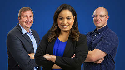 Dr. Bradley Brimhall, Lisa Peña, David Chambers against a solid blue background