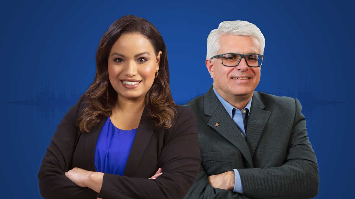 Lisa Peña and Michael Miller against a solid blue background