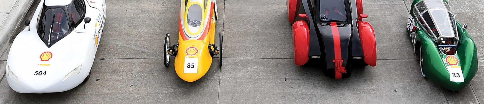 Eco-marathon cars on track