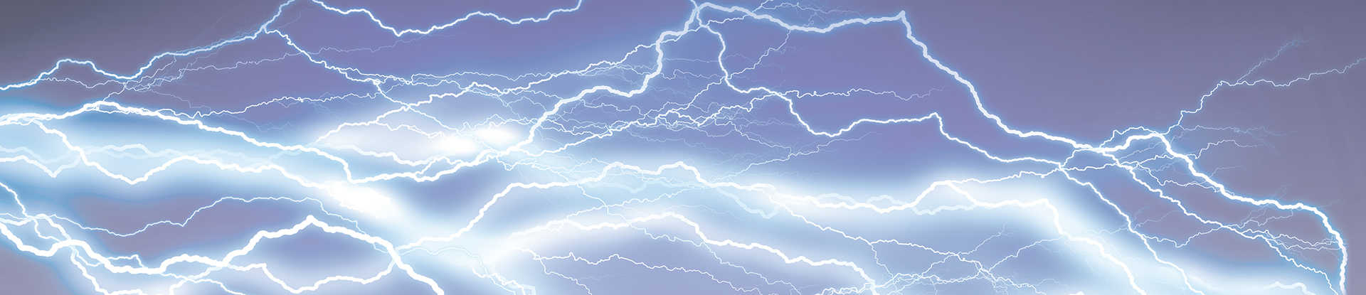Artist rendition of blue gray sky with with multiple paths of lightning