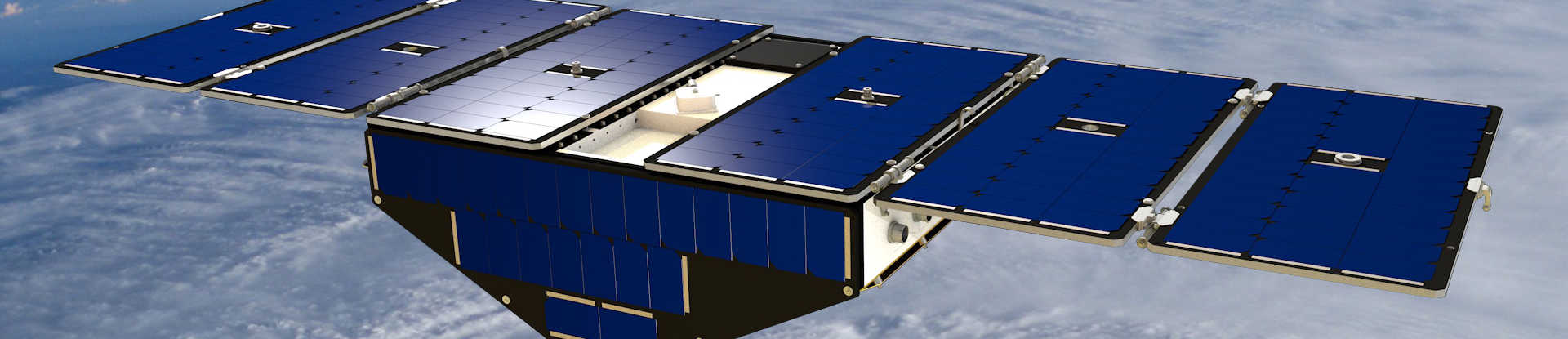 Artist concept of CYGNSS in orbit above planet earth