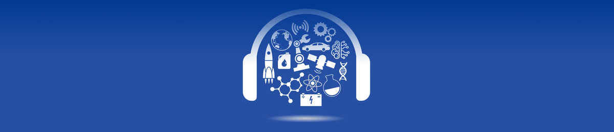 Technology Today Podcast logo, white headphones and science symbols on a bold blue background
