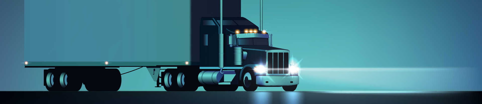 Big rig semi truck with headlights on against a teal blue background