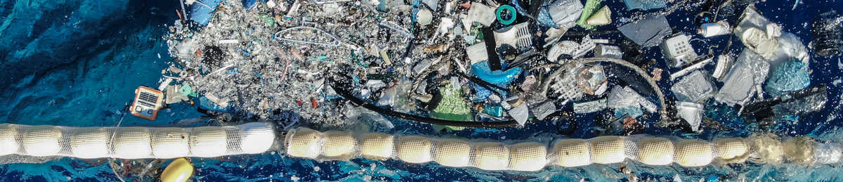 Aerial photo of plastic waste pulled from the Great Pacific Garbage Patch, the largest ocean plastic accumulation zone in the world